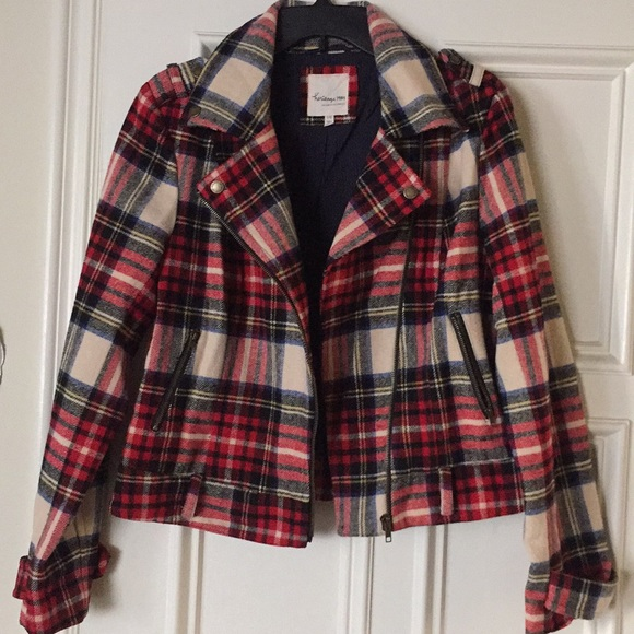 Heritage 1981 Jackets & Blazers - Red plaid wool moto jacket